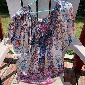 Multicolor shear flowy blouse